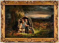 ★19世紀絵画 THE RAIN STORM★ 1863年 油彩 Thoms P. Hall
