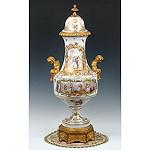 ブロンズ飾付金彩色絵飾壷 Niderviller 18世紀