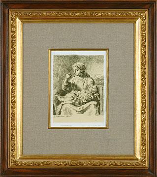 ジャン=フランソワ・ミレー「ミルク粥」 1861年エッチング